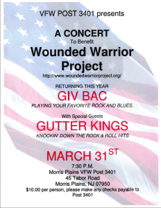 WWP Benefit with GIvBac and The Gutter Kings LIVE March 31 2012 at the Morris Plains VFW