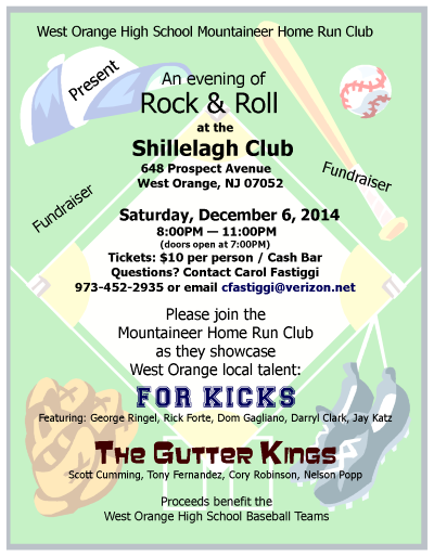 Flyer for Gutter Kings gig 6Dec2014 West Orange, NJ