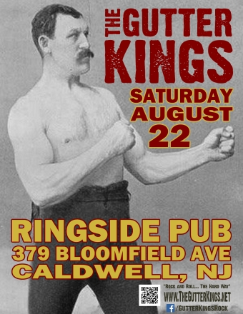 Flyer for Gutter Kings gig 8Aug2015 Caldwell, NJ