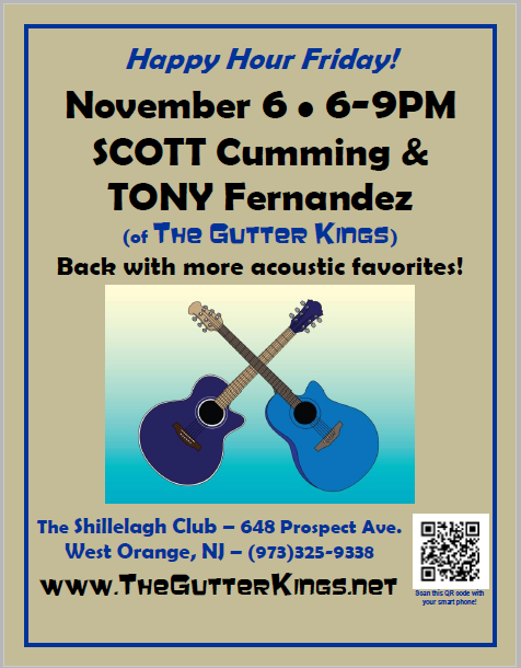 Flyer for Gutter Kings Acoustic Happy Hour 6-Nov-2015