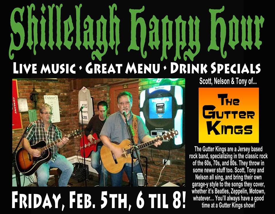 Flyer for Gutter Kings Acoustic Happy Hour 5-Feb-2016
